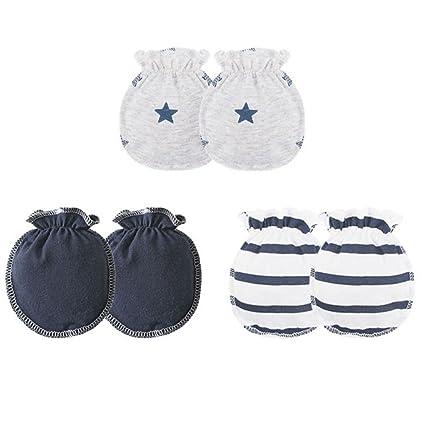 3 pares Los bebés bebé guantes de algodón suave banda elástica de goma No rascar recién nacidos niño manoplas Mengonee