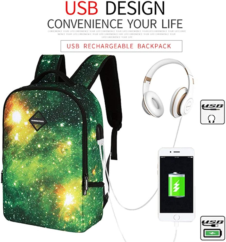 Mihaojianbing Leisure Travel Star Pattern with USB Charging Port and Headphone Connector for 14-inch Laptops for College Students Men and Women Pratical