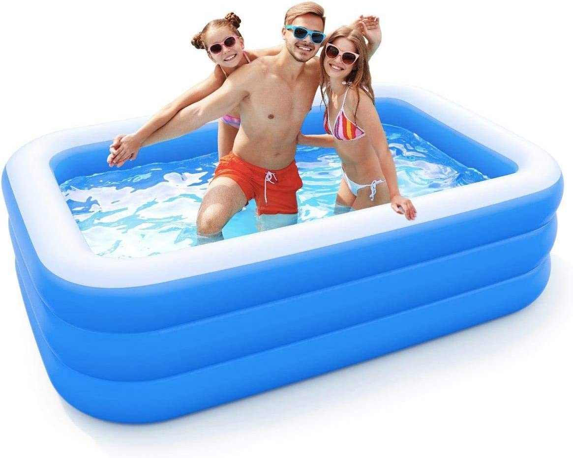 Inflatable Pool For Adults Kids Family Kiddie Swimming Pool Blow Up Rectangular Large Above Ground Pool Floats For Lounging Outdoors Backyard For Baby Use W Water Slide Sprinkler Splash