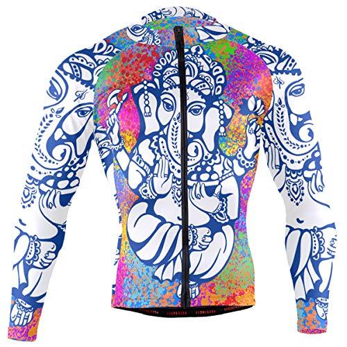Ganesh Ganesha Men's Long Sleeve Cycling Jersey Bicycle Jacket Pockets Full Zipper Bike Biking Shirts