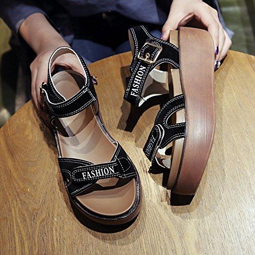 SOHOEOS sandalias de punta abierta verano nuevos zapatos de plataforma grueso mujer velcro tacón alto talón pendiente mujer zapatos de mujer zapatos romanos deportes al aire libre ligero ligero de sec negro
