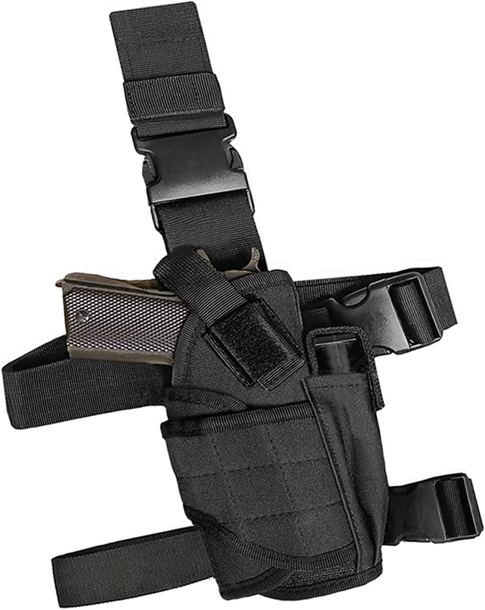 Tactical Drop Leg Handgun Holster Right Thigh Pistol Leg Tool Holster Black
