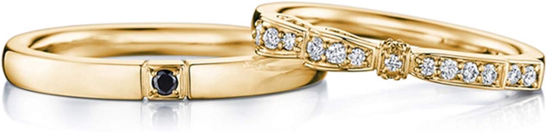 AnazoZ Anillos de Compromiso Hombre Mujer Oro 18K Cuadrado Mosaico Diamante Blanco 0.11ct Sapphire 0.01ct