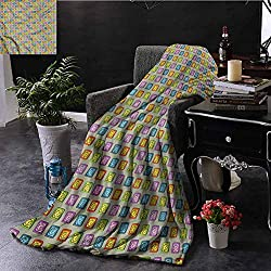 Clock Couch Throw Blanket Sketch Style Square Watches Bedroom Dorm Sofa Baby Cot Beach W70 xL84