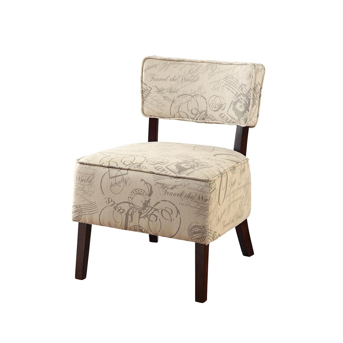 Furniture of America Jeuno Contemporary Accent Chair, Ivory