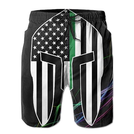 ef4fdef206 American Spartan Thin Green Line Flag Men's Board Shorts Swim Trunks  Beachwear Athletic Gym Beach Shorts