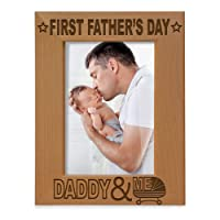 KATE POSH - First Father's Day Engraved Natural Wood Picture Frame - Daddy & Me,...
