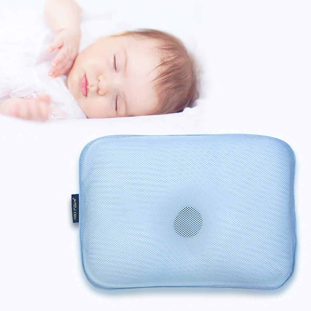 Gio Pillow 3D Air Mesh Baby Pillow, Premium Head Shaping Pillow, Flat Head Syndrome Prevention, Made in Korea [Ice Blue/Infants 0-8 Months] by Gio pillow