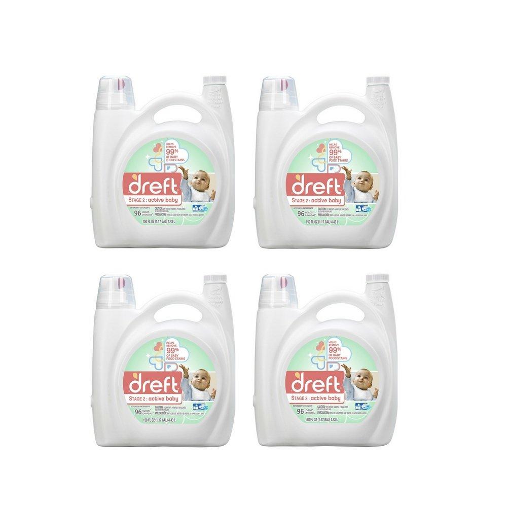 Dreft Stage 2: Active Baby Liquid Laundry Detergent (HE), 150 oz, 96 loads (4 Pack)