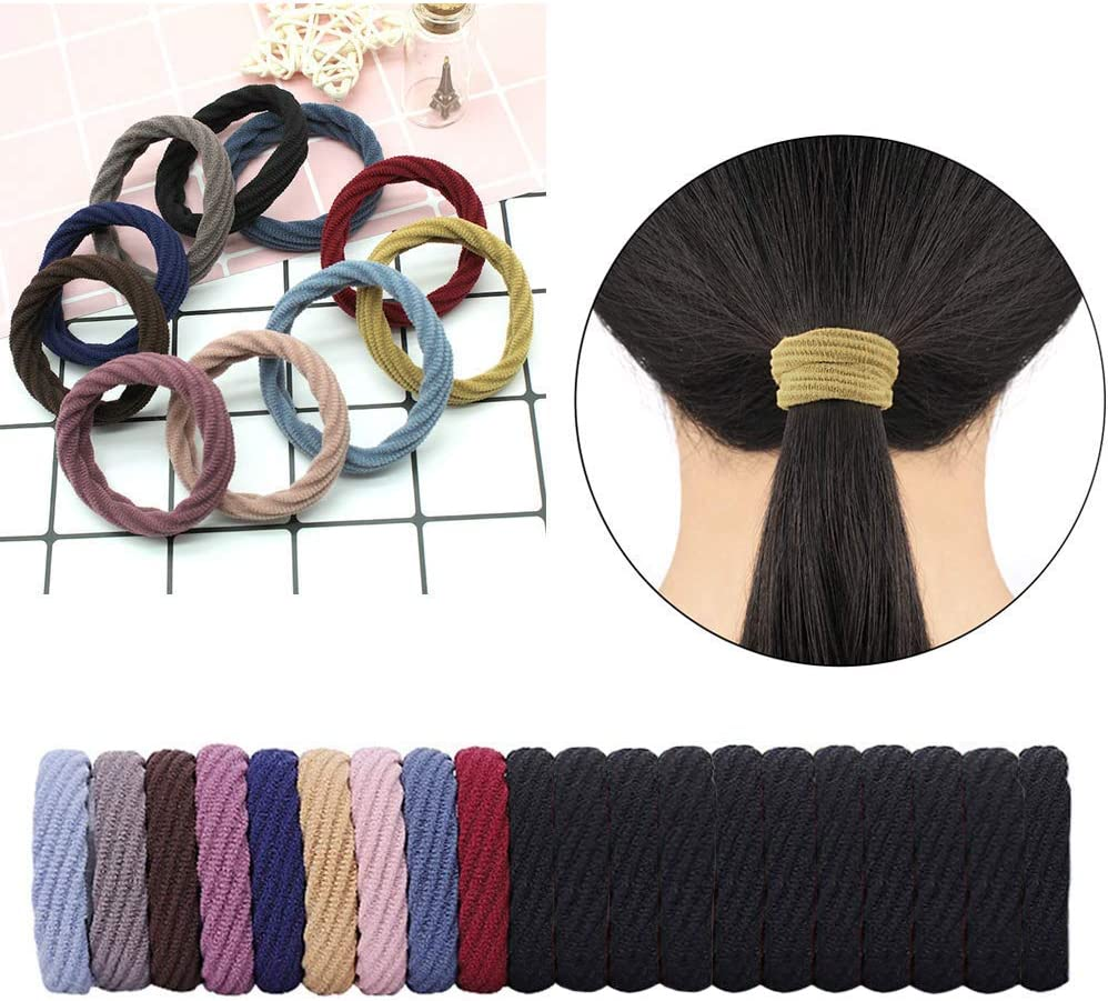 Multicolored 20 Pieces Cotton Hair Ties Seamless Elastic Hair Bands Thick Ponytail Band 4.5cm in Diameter Hair Accessories for Women and Girls
