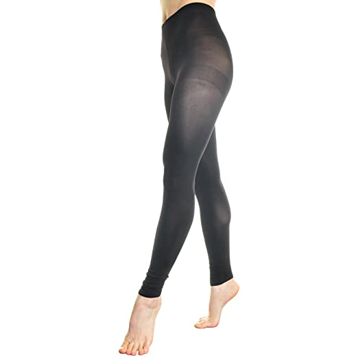 16555c41fb0f58 Opaque Footless Tights/Leggings with Ruched Bottom (One Size/Black ...