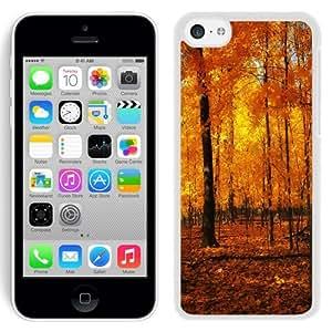 NEW Unique Custom Designed iPhone 5C Phone Case With Orange Forest Autumn_White Phone Case