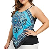 Sikye Womens Ethnic Print Tops,Plus Size Lace-up Asymmetrical Sleeveless Tank Top Cami Shirt (Blue, L)