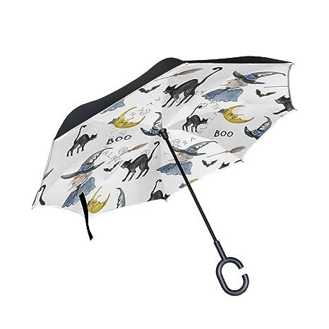 COOSUN Bruja de Halloween Y Fondo Negro del gato de doble capa del paraguas invertido inversa