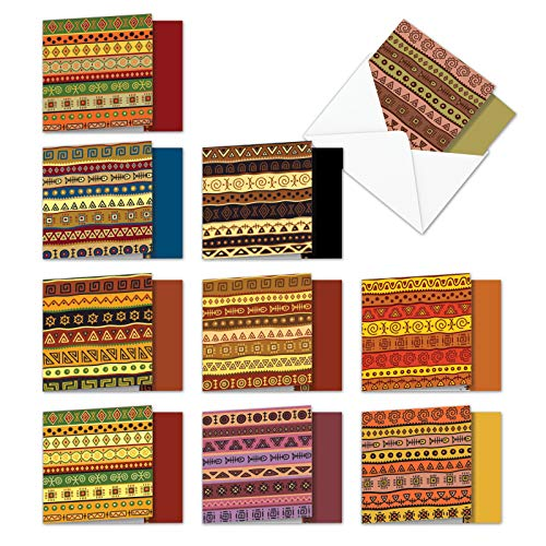 AMQ6116OCB-B1x10 African Motifs: 10 Assorted Set of Blank New 'Square-Top' Greeting Cards Featuring Authentic Images of Batik Designed Cloth, with Envelopes Size: (1 Each of 10 Designs Size: 4