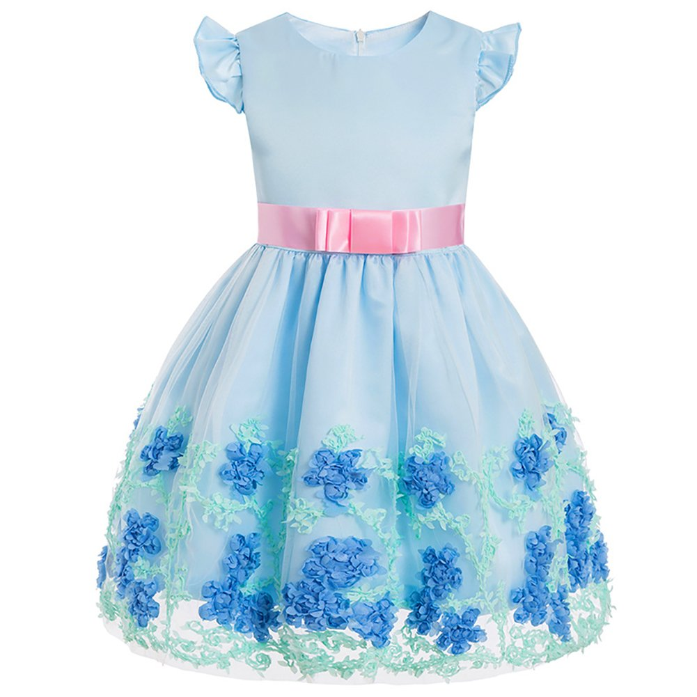 Minions Boutique Girl Baby Sweet Dress Petal Sleeve Princess Dress Fine Embroidered Mesh Lace Cute Birthday Dress Light Blue 130cm