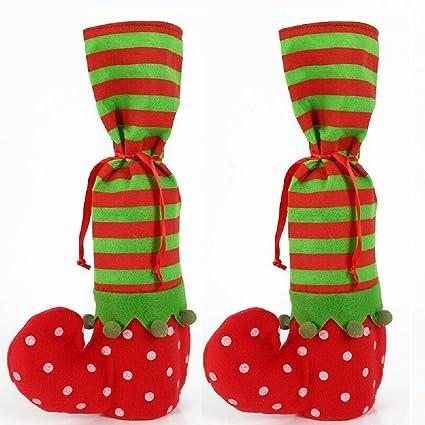 oileus 2pz Navidad Botas de Elfo calcetines de Santa Cubierta de la botella de vino/