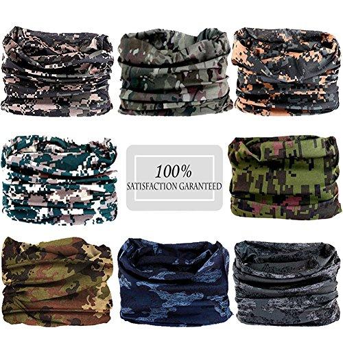 N'joy 8PCS Magic Sports Headband, Seamless Bandana Tube with UV Protection