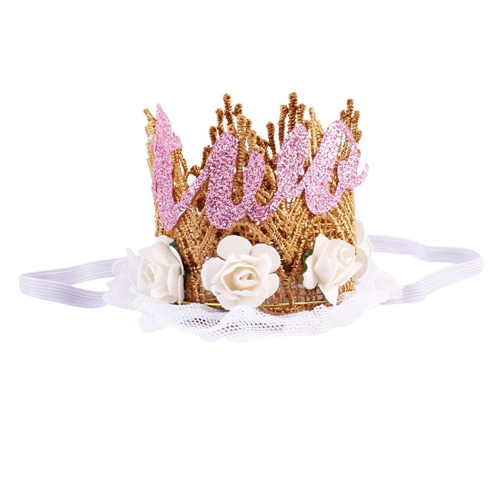 White One Prettyia Baby Girl 1st//2nd Birthday Party Hat Hairband Princess Queen Crown Headband Elastic