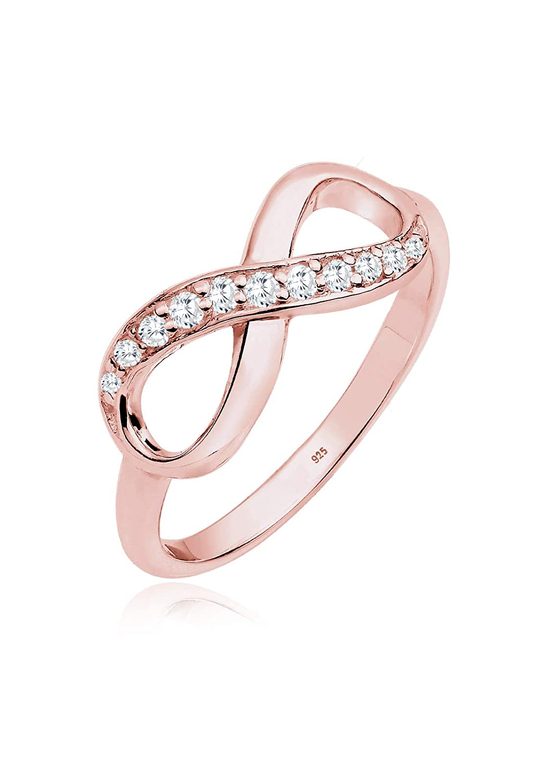 Elli Damen Ring mit Infinity Symbol Eye Catcher Glanzvoll mit Zirkonia Kristall in 925 Sterling Silber