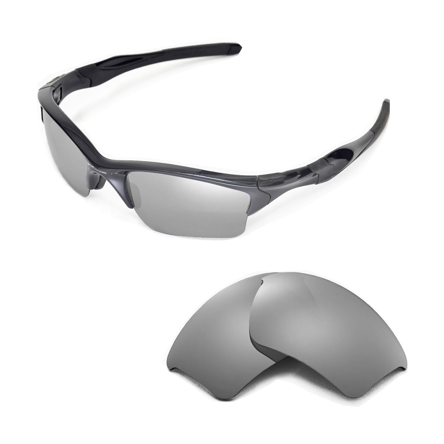 Walleva Replacement Lenses 4 Oakley Half Jacket 2.0 XL Sunglasses - Multiple Options (Titanium) by Walleva