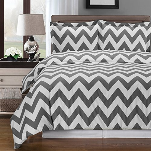 Chevron Duvet Cover Set, 100% Cotton features a glamorous contemporary zigzag stripe patterns, shades of gold, black or gray. Includes coordinated shams. King/California King 3 Piece Set Gray/White