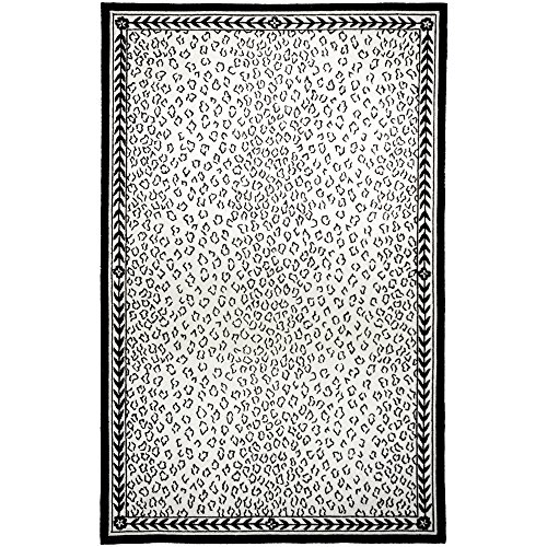 Safavieh Chelsea Collection HK15C Hand-Hooked White and Black Premium Wool Area Rug (5'3
