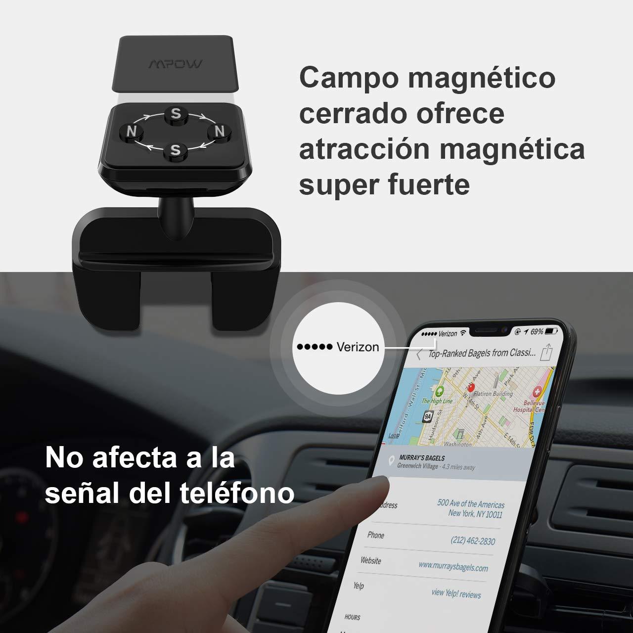 Mpow Soporte Magnético de Móvil para Coche, con Imán para Ranura CD, para iPhone XS/X/8/7/6, Samsung S9/S8, Huawei y ect.: Amazon.es: Electrónica