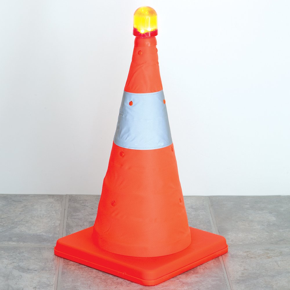 Bits and Pieces - Flourescent Orange LED Warning Traffic Cone - Work Area Protection Durable Nylon Cone with Reflective Band and LED Lights - Folds Flat for Easy Storage