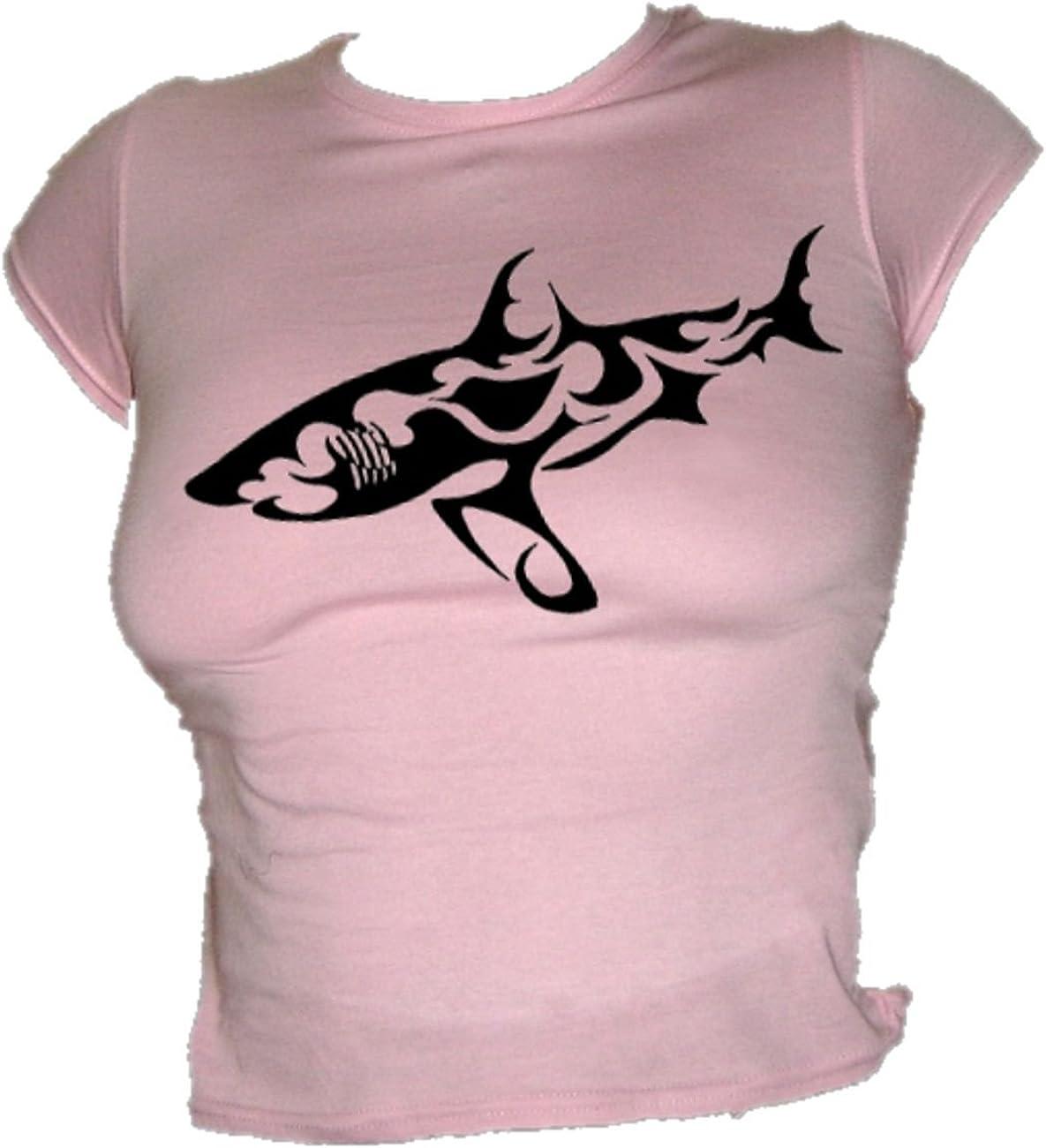 Blue Ray T-Shirts de la Mujer Tribal Tatuaje Estilo – Gran tiburón ...