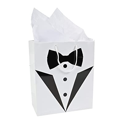 Fun Express Groomsmen Tuxedo Wedding Gift Bags (1 Dozen) Wedding Party Supplies: Health & Personal Care