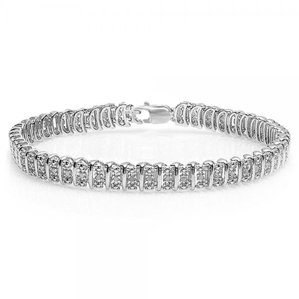 0.50 Carat (ctw) Sterling Silver Real Round Cut Diamond Ladies Tennis Bracelet