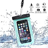 Hankuke Universal Waterproof Case Bag for Apple iPhone 6s, 6 Plus, Samsung Galaxy S6 Edge. Best Water Proof, Dust Dirt Proof, Snowproof Pouch for Cell Phone up to 6 inches - Lifetime Warranty - blue