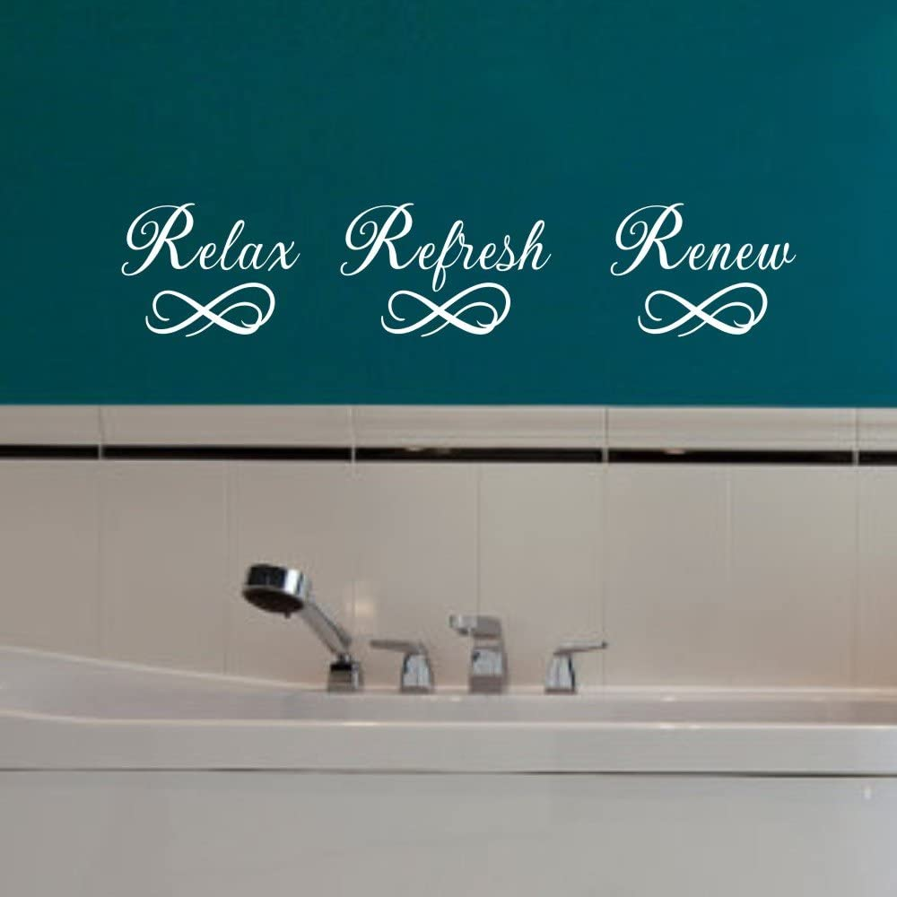MoharWall Relax Refresh Renew Quote Sink Decals Bathroom Vinyl Art Wall Spa Sticker Mirror Décor