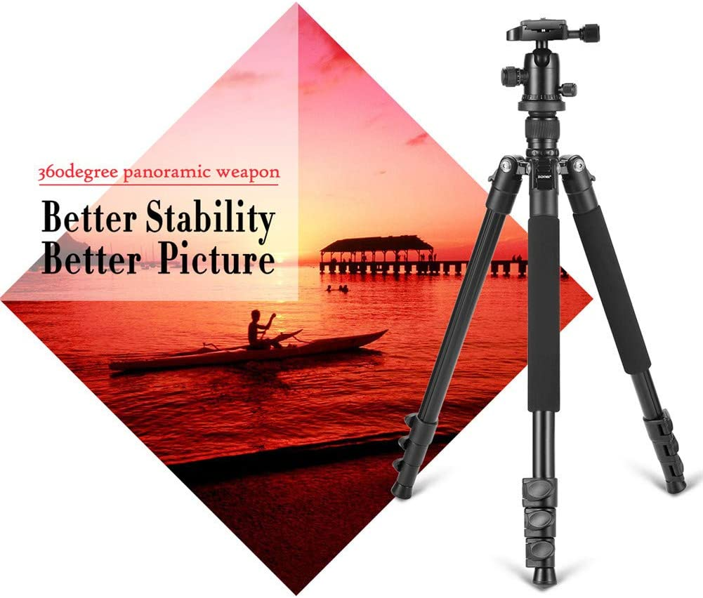 62.5 DSLR Tripod for Travel Ball Head Tripod Detachable Monopod with Carry Bag Funiee Professional Camera Tripod Super Lightweight and Reliable Stability