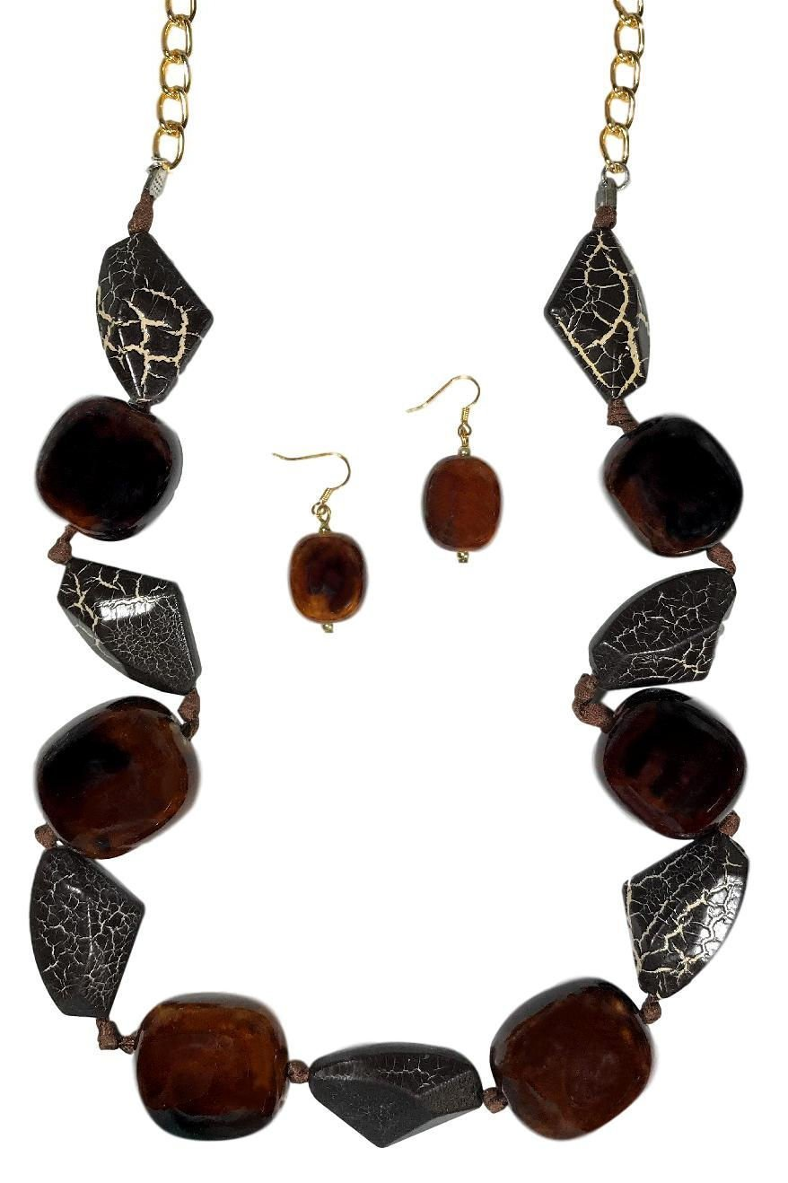 Dave's Collections Brown White Animal Print Bead Knotted Strand Statement Necklace Earring Set 32''