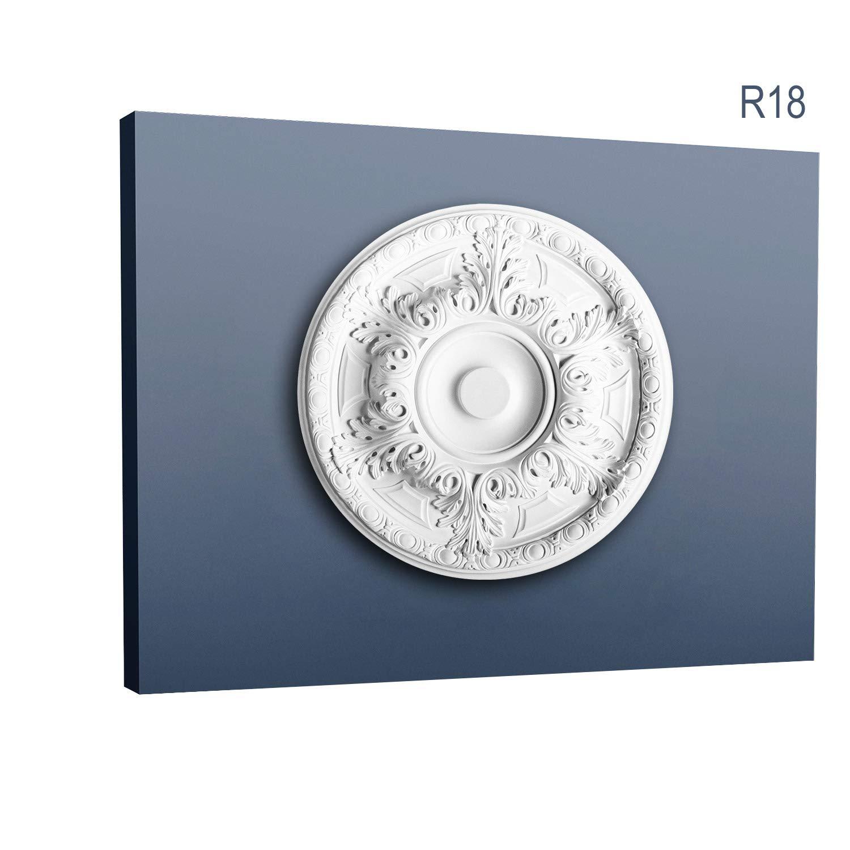 Rosetón Florón Elemento decorativo de estuco Orac Decor R18 LUXXUS para techo Motivo de hojas antigua 49 cm diámetro: Amazon.es: Bricolaje y herramientas