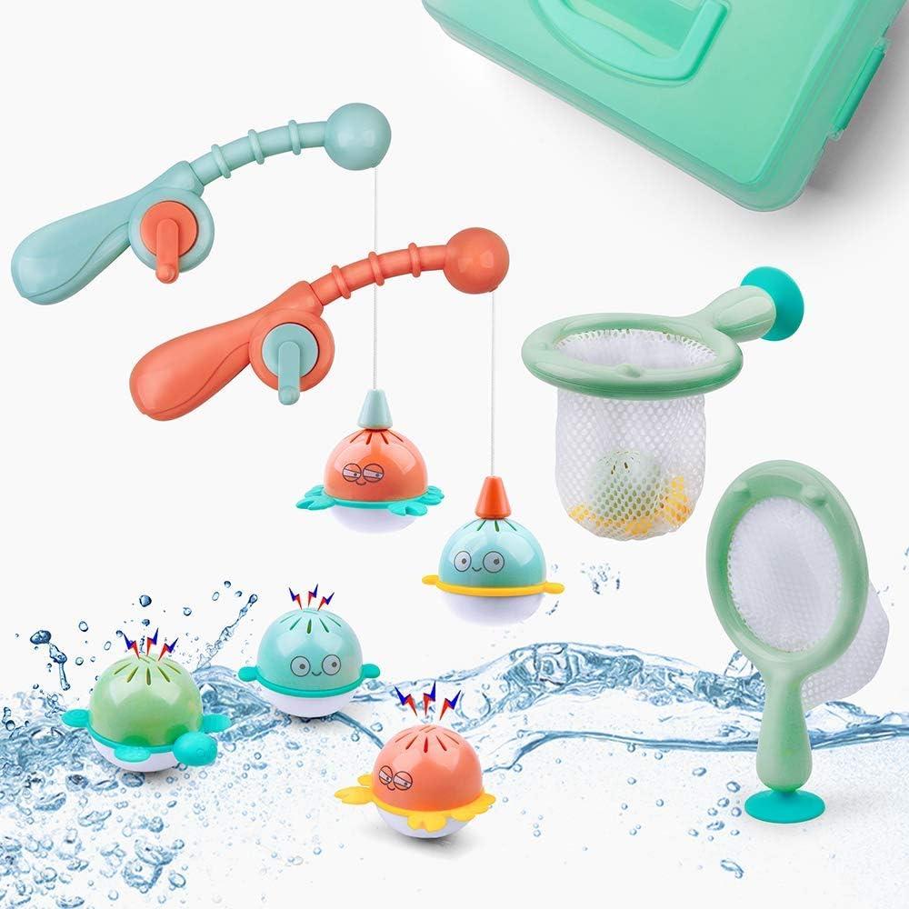GizmoVine Juguete de Baño, Pescar Flotante Squirts Toy y Cucharada de Agua con Bolsa Organizadora, Juguetes de Pesca Baño Piscina para niños Niñito Bebé Muchachos Chicas