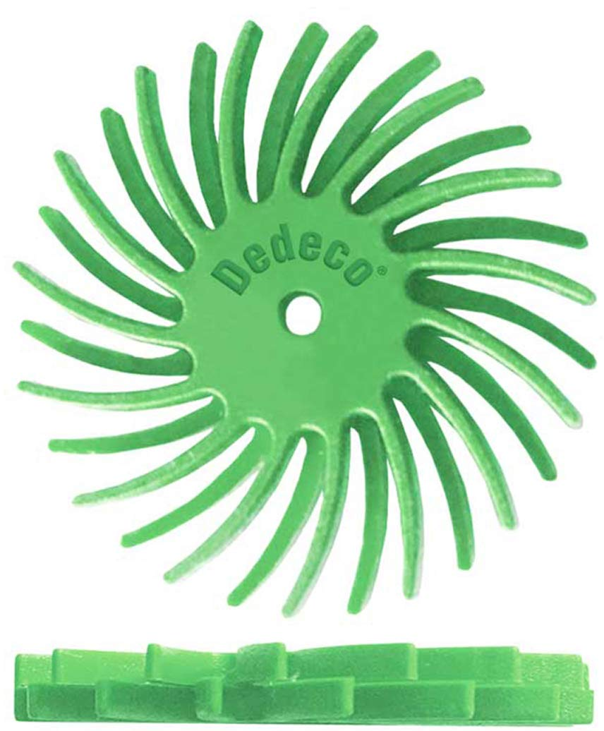 48 Pack Dedeco Sunburst Precision Thermoplastic Rotary Cleaning and Polishing Tool 1//16 Arbor Fine 400 Grit 7//8 TC Dual Radial Bristle Discs