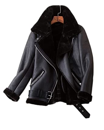 d59a03042c LY VAREY LIN Fitaylor Women's Faux Shearing Moto Jacket Thick Lined Parka  Winter Shearling Coat Leather