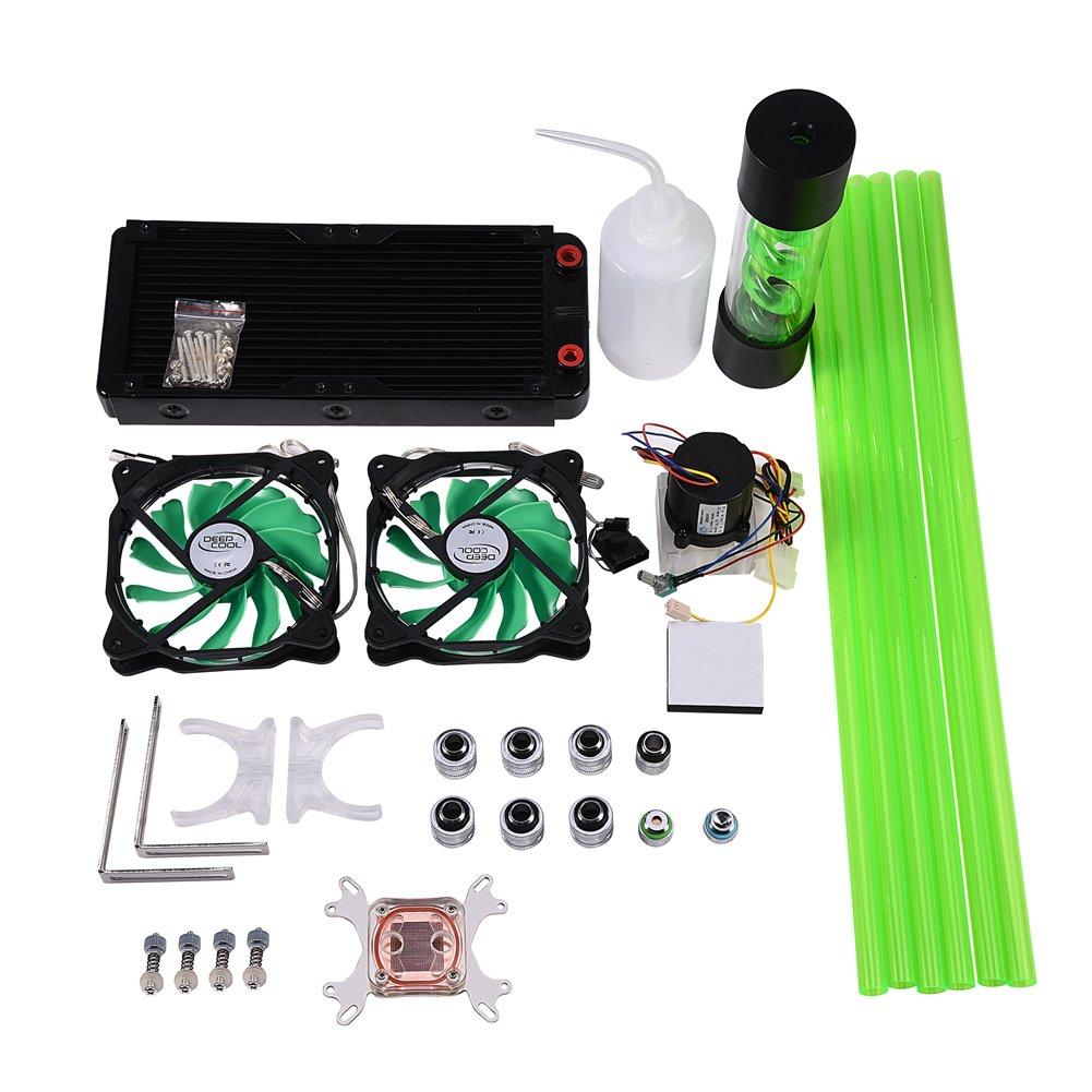 VBESTLIFE DIY 240mm Water Cooling Kit Heat Sink CPU Water Block Pump Reservoir LED Fan