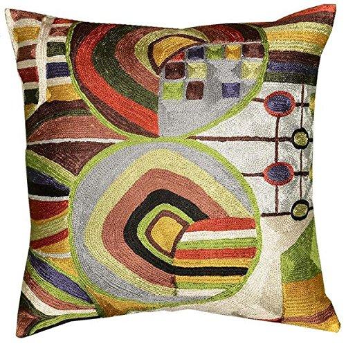 Kashmir Designs Hundertwasser Biomorph I Silk Decorative Cushion Cover