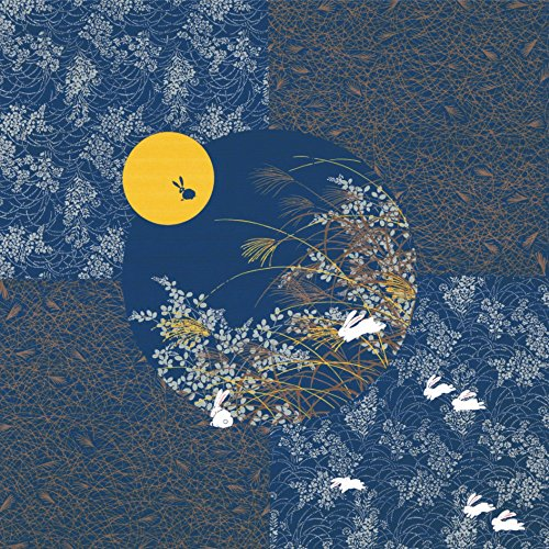 Furoshiki Wrapping Cloth Rabbit in the Moon w/ Navy Base Motif Japanese Fabric 50cm by Yu-soku