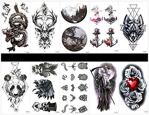 GGSELL GGSELL 10pcs tattoo dragon temporary tattoos in one packages,including dragon,deer,spear,wolf,totem,skull,jewelry,evil,rose,etc.
