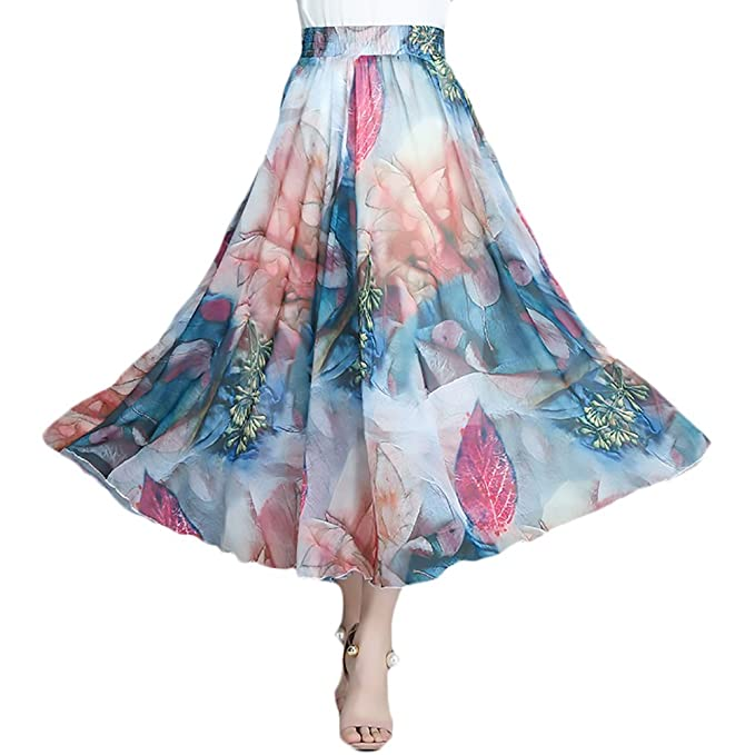 b0f13ffad51 Mujer Faldas Largas Verano Vintage Moda Gasa Flores Estampadas Lindo ...