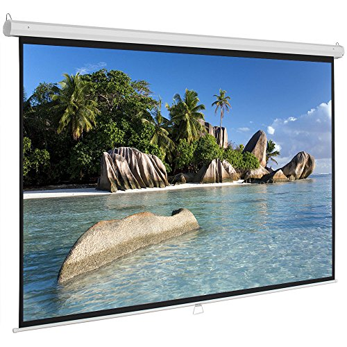 ShowMaven 100 inch 16:9 HD Projector Screen, Home Theater Education Office Presentation Manual Pull Down Projection Screen for Indoor Wall or Ceiling Mounting ()