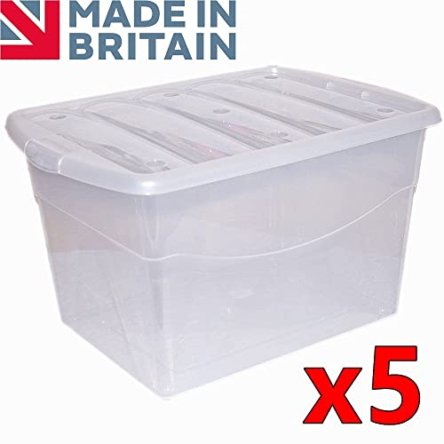 CrazyGadget 100L 100 Litre Extra Large Big Plastic Storage Clear Box  Strong Stackable Container   Made