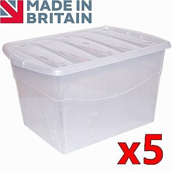 CrazyGadget® – Caja contenedor de plástico extra grande, 100 L, transparente, robusta y apilable, fabricada en Reino Unido: Amazon.es: Jardín