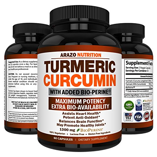 Turmeric Curcumin with BioPerine 1300MG with Black Pepper – Joint Support Nutritional Supplements – 100% Herbal Tumeric Root Capsules – Arazo Nutrition