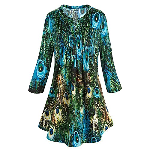 Women's Tunic Top - Green & Blue Peacock Feathers Pleated Blouse - 2X